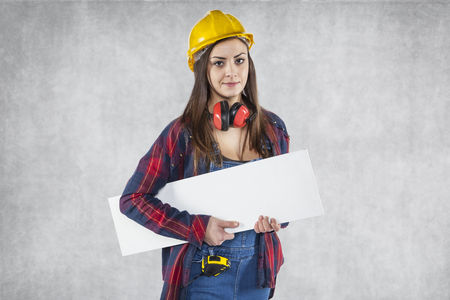 Woman worker with advertising banner