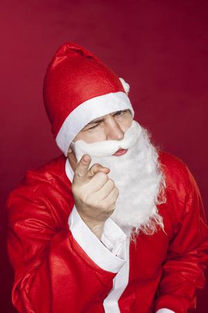 Santa Claus threatens you with a finger Banco de Imagens