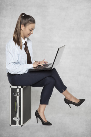 beautiful businesswoman writes an e-mail, uses a laptop