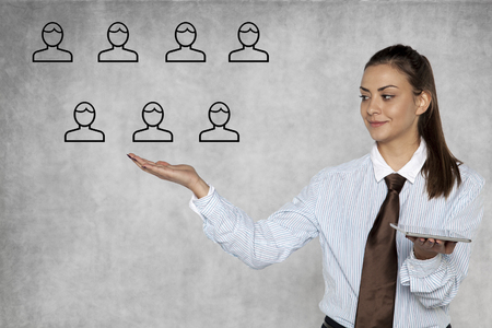 businesswoman shows how to easily manage people