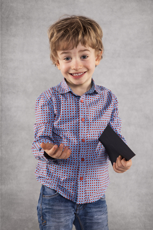 young businessman holding an envelope with a bribe