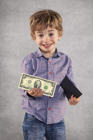 young businessman holding an envelope with a bribe, money in a hand