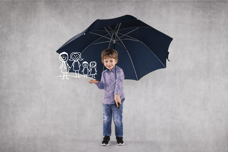young insurance agent under umbrellas, protects your family