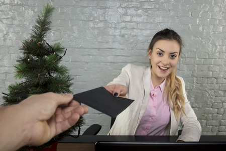 beautiful business woman is working during the holidays, surprise from the boss