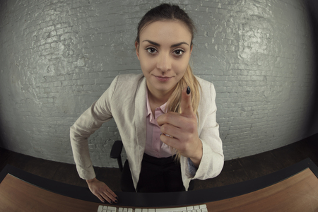 business woman threatens with finger