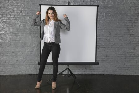 business woman during a presentation, different situations Stock Photo
