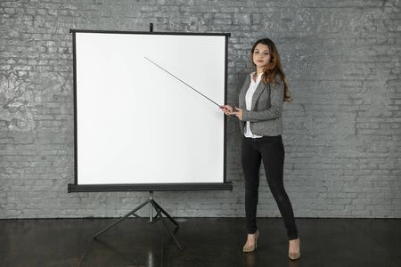 business woman during a presentation, different situations 写真素材