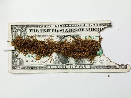 rapé en un billete de un dólar, dinero quemado