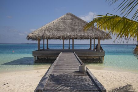 bungalow on the water, beautiful view of the open house in Maldives