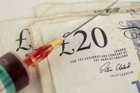 concept of the British pound dependent on the crisis caused by the pandemic coronavirus
