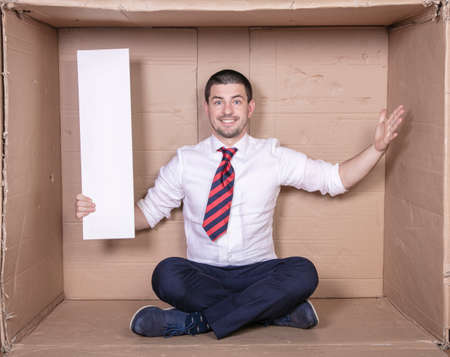 businessman holding copy space in his hand, job satisfaction 스톡 콘텐츠