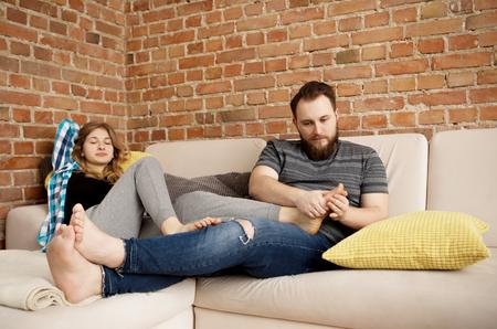 Womans Fußmassage. Standard-Bild
