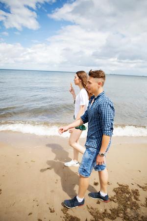 Teenage couple at seaside