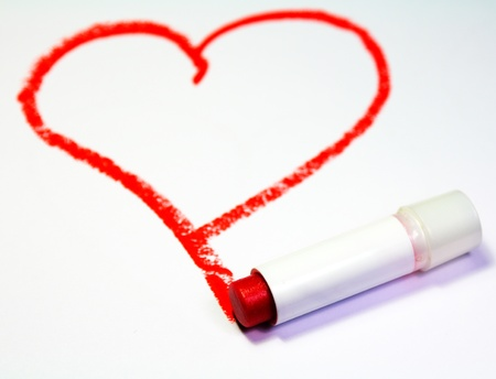 Red heart painted by lipstick Stock Photo
