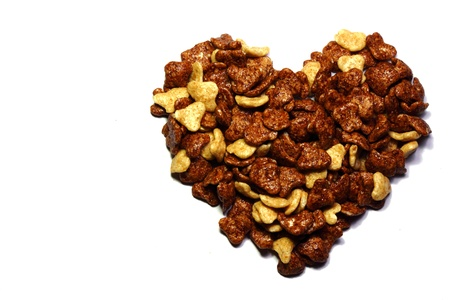 Heart made from cornflakes Stock Photo