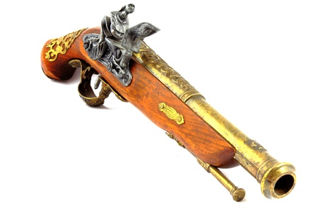 flintlock: Antique Flintlock Pistol Stock Photo