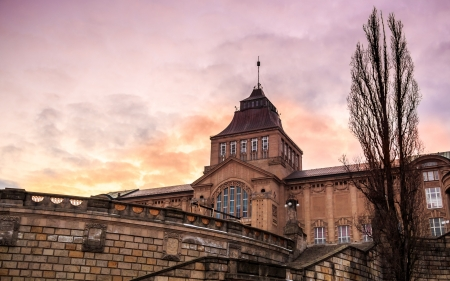 National Museum in Szczecin at sunset