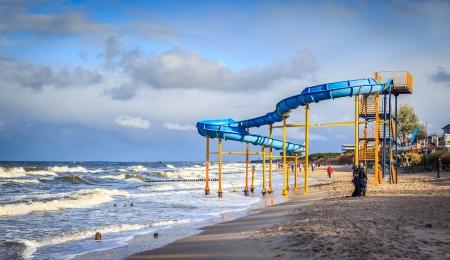 land slide: Slide on the beach