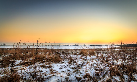 Sunset in the winter Stock Photo