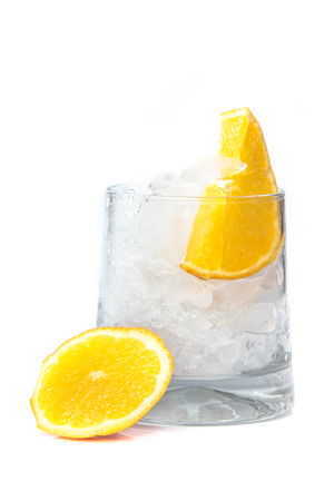 Drink with ice and orange