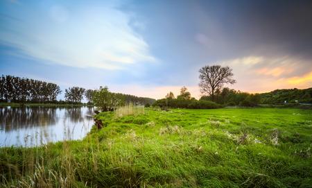 River at sunset long exposure