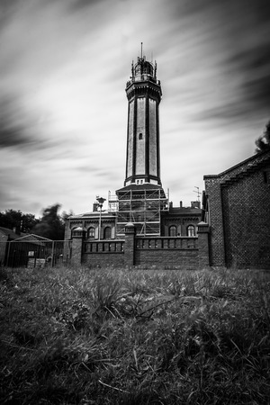 Lantern in Niechorze black and white Stock Photo