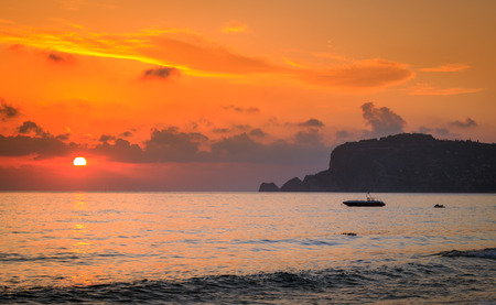 Colorful sunset at the beach in Alanya
