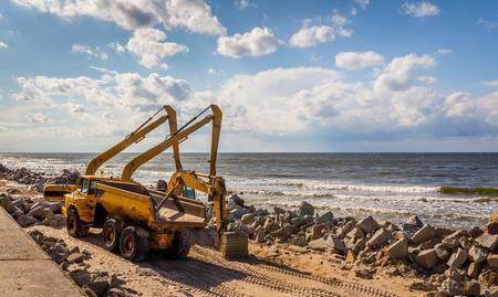 breakwater: Construction of the breakwater Stock Photo
