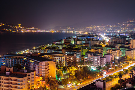 Coast in Alanya at night