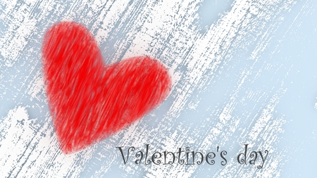 Valentines day - red heart on white background - on postcard with copy space. 3d illustration.