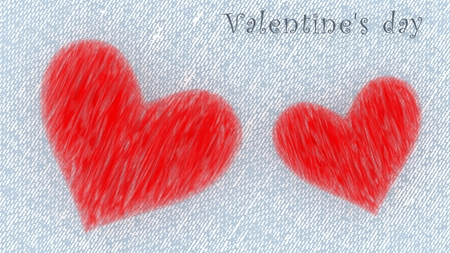 Valentines day - two hearts on white postcard with copy space. 3d illustration.