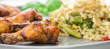 Roasted chicken wings - banner design - macro, closeup. Stock Photo