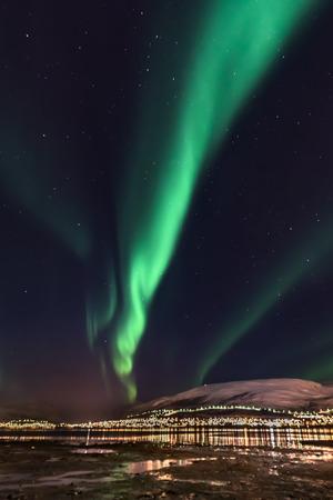 Aurora Borealis (northern lights) in North Norway, Tromso City