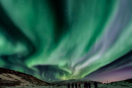 Aurora Borealis (northern lights) with Big Dipper in Norway, Kvaloya, Tromso Stock Photo