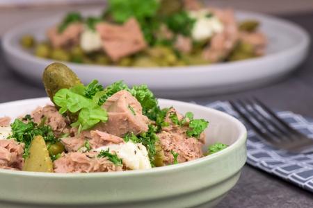 A bowl of healthy tuna salad on dark background- closeup Stock Photo