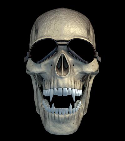 Crâne de vampire drôle et effrayant d'Halloween avec des lunettes de moto drôles. rendu 3D