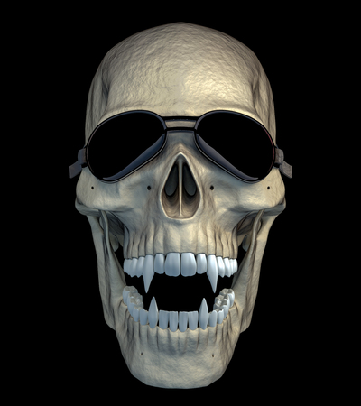 Halloween funny and scarry vampire skull with funny motorcycle goggles. 3d render