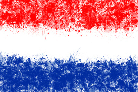 holland flag: Flag of Netherlands made of colorful splashes. Holland flag red, white, blue.