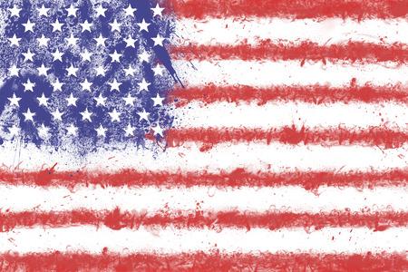 bandera blanca: Bandera de los Estados Unidos de América crea a partir de los colores de salpicaduras. Bandera de EE.UU. Foto de archivo