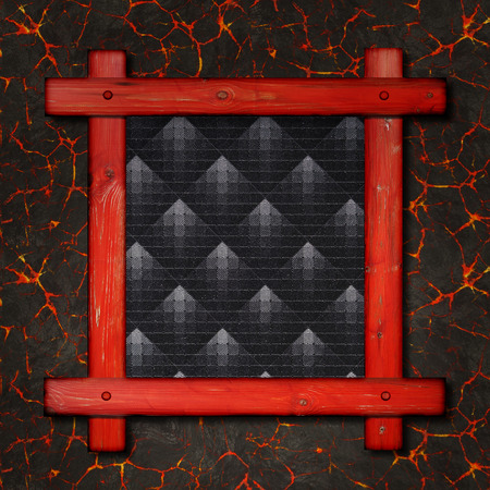 slat: Old wooden frame against a hot lava background with copy space in the centre.