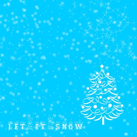 let it snow: Sentence Let it snow written on blue winter Christmas background.