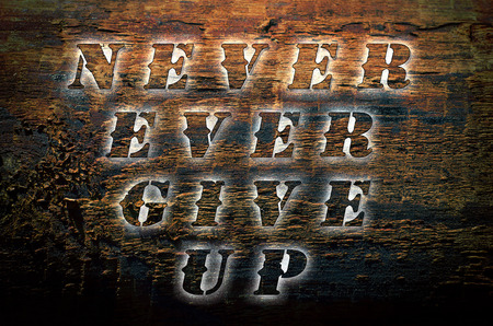 ever: Sentence Never ever give up written on nature wooden background. Stock Photo