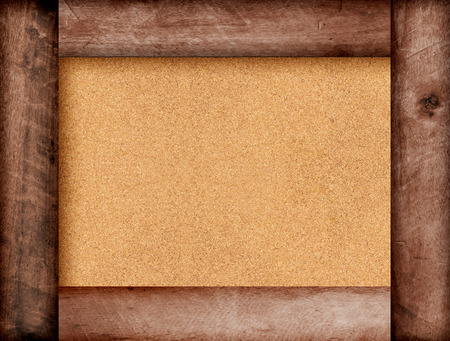 pin board: Wooden brown frame with copy space on pin board background. Menu.