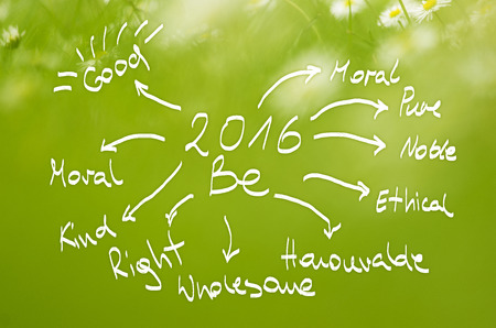 be green: Date 2016 Be goals handwritten on  real green background. Stock Photo