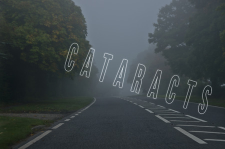cataracts: Word cataracts written on foggy, blurred road, danger autumn road Stock Photo