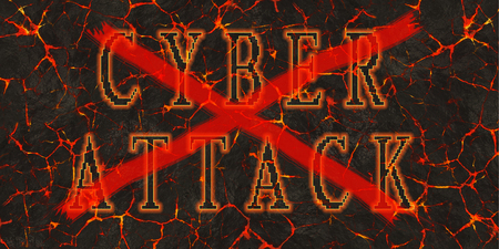 stop piracy: Words cyber attack red crossed written on red lava.