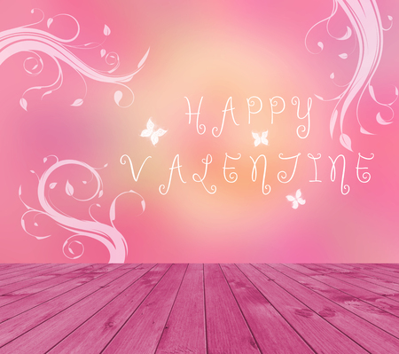 product display: Empty red wooden deck table with Happy Valentine text written on pink background with butterfly and branches.. Ready for product display montage