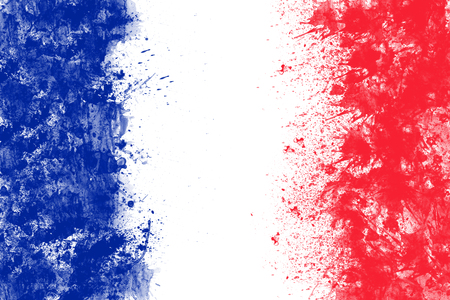 French flag created from splash colours blue white red. 版權商用圖片 - 50466830
