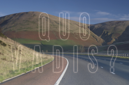 Question Quo vadis Whither goest thou written on road mountain background.