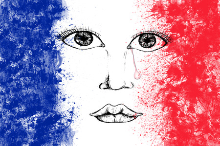 tear: Human face with tear drop on French flag created from splash colours blue white red. Stock Photo